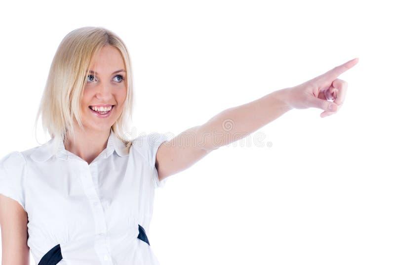 Donna con indicare barretta immagine stock
