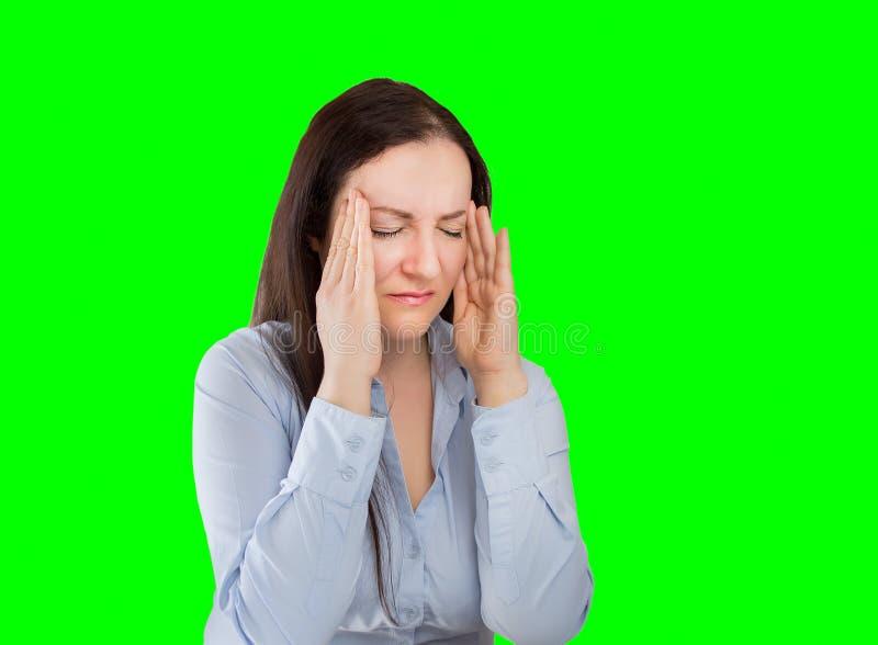 Donna con l'emicrania fotografie stock