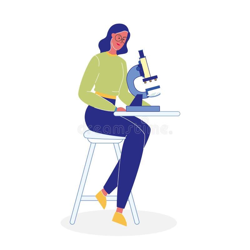 Donna con l'illustrazione piana di vettore del microscopio illustrazione di stock