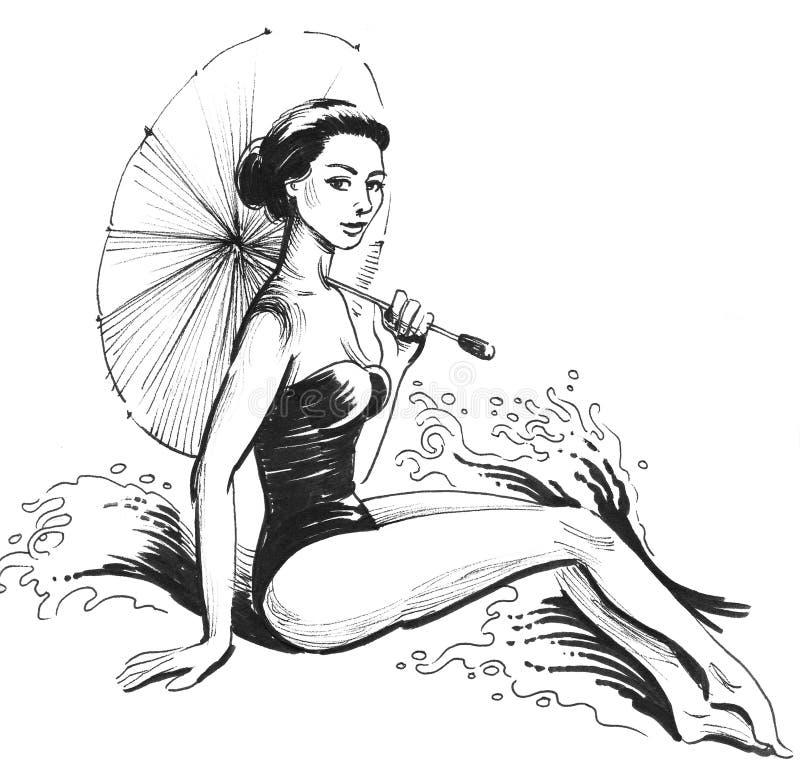 Donna con l'ombrello royalty illustrazione gratis