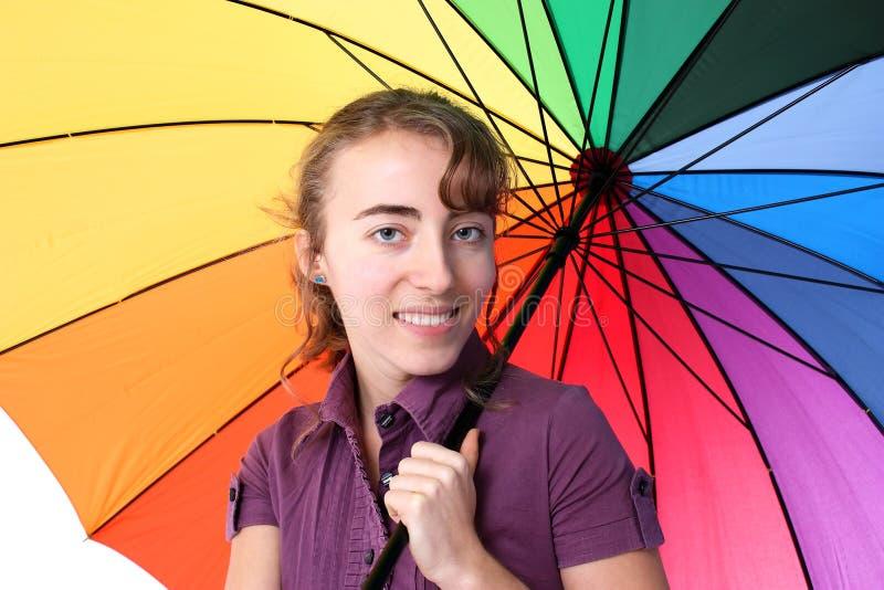 Donna con l'ombrello immagine stock