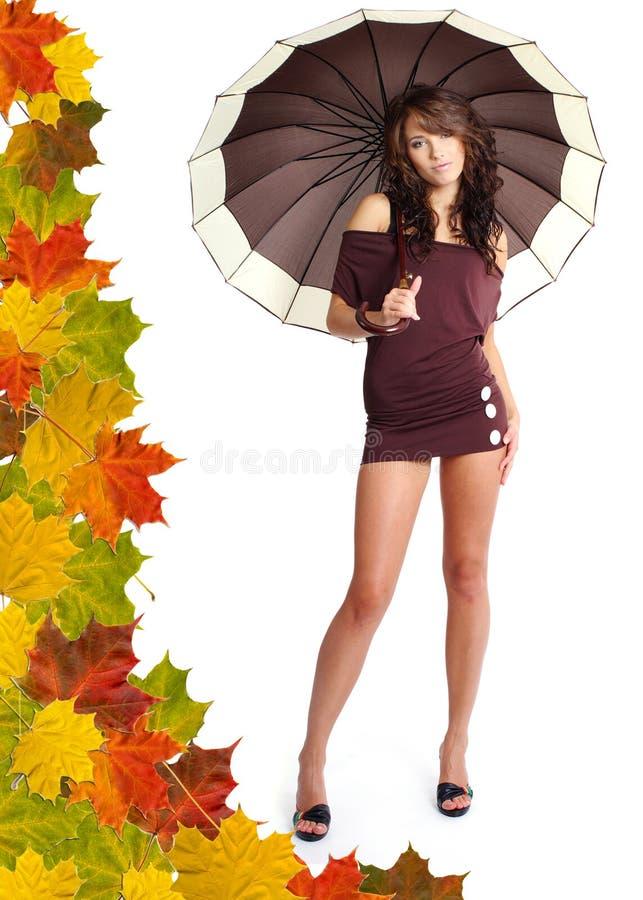 Donna con l'ombrello. immagini stock libere da diritti