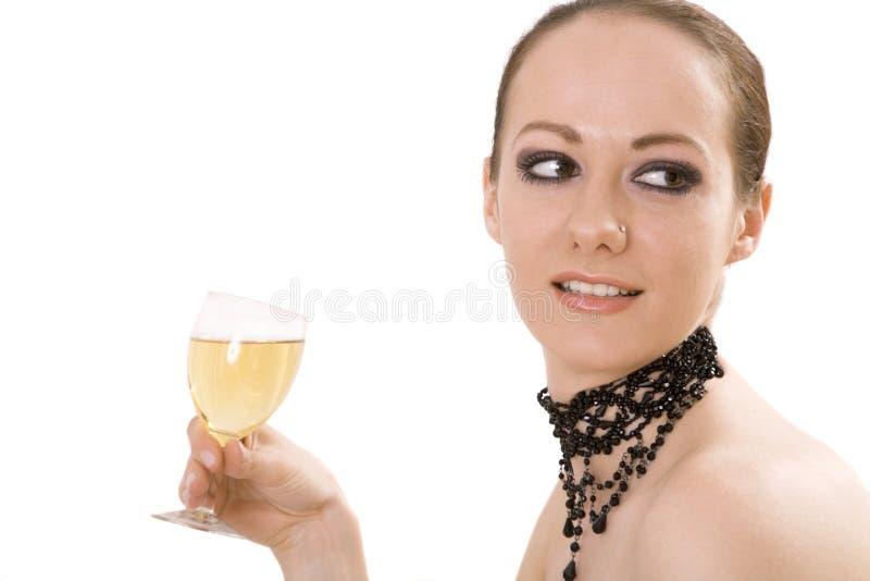 Donna con la bevanda immagini stock