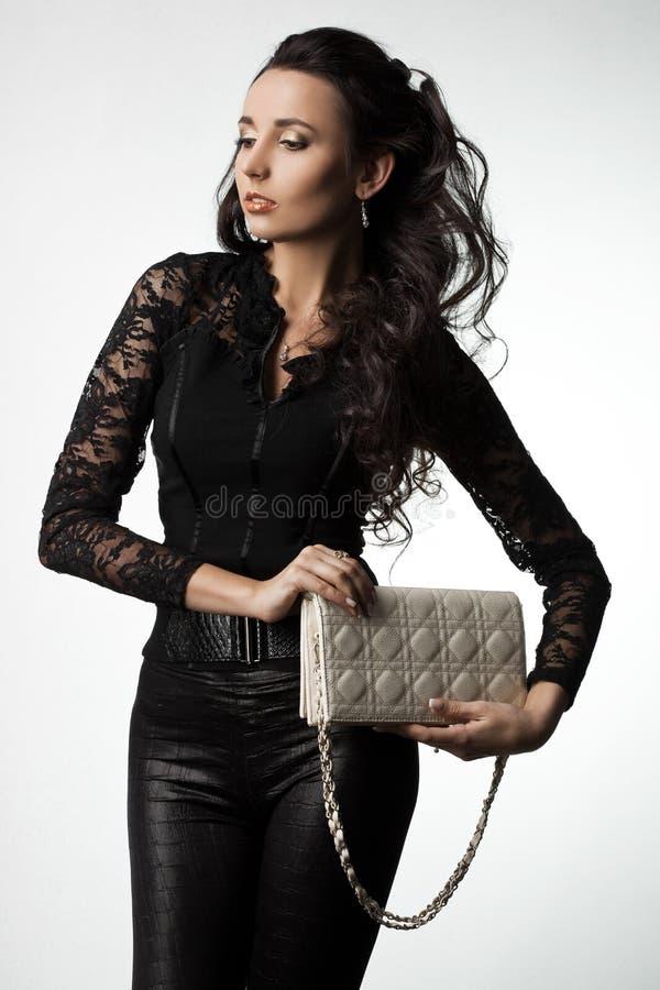 Donna con la borsa immagine stock