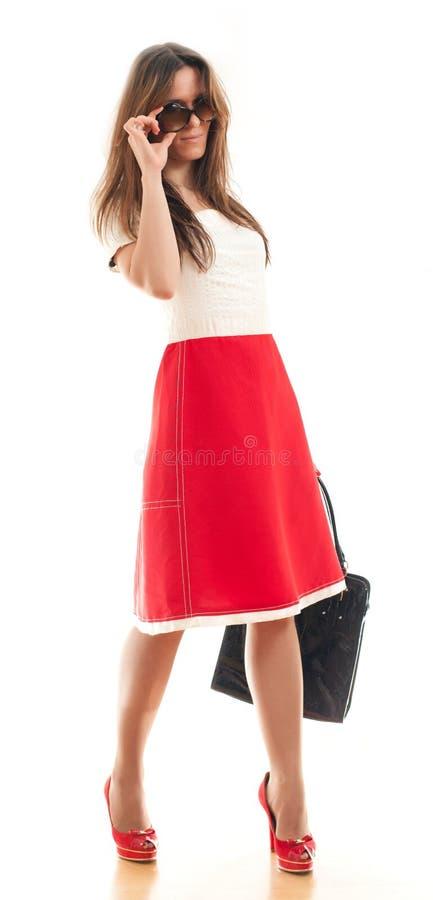 Donna con la borsa di cuoio immagini stock libere da diritti