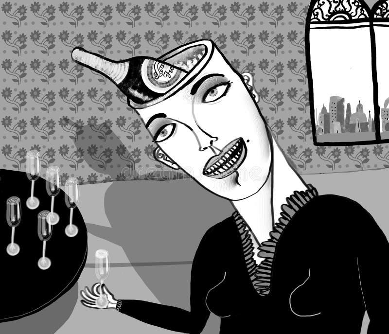 Donna con la bottiglia di champagne nella testa illustrazione vettoriale