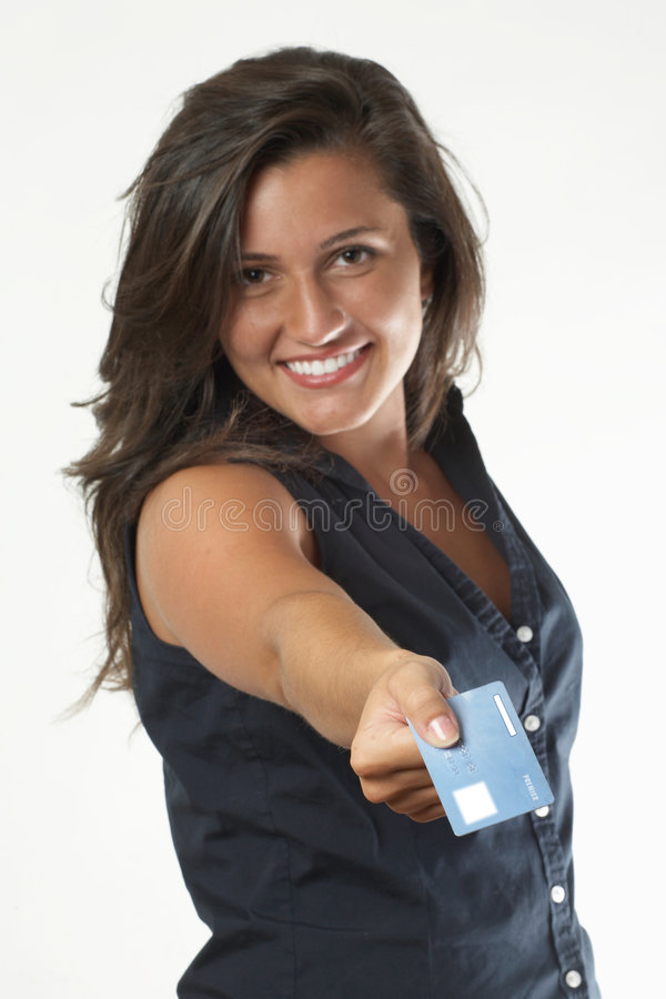 Donna con la carta di credito immagini stock