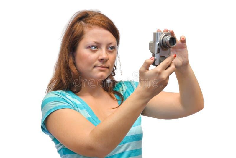 Donna con la macchina fotografica fotografia stock