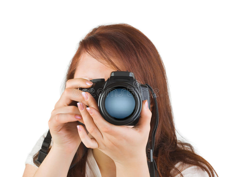 Donna con la macchina fotografica immagine stock libera da diritti