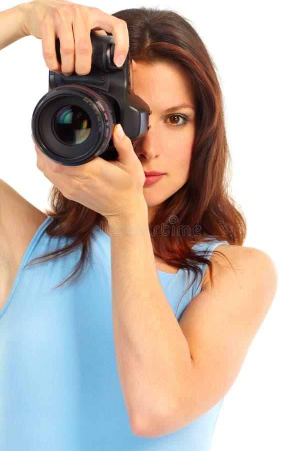 Donna con la macchina fotografica della foto fotografia stock