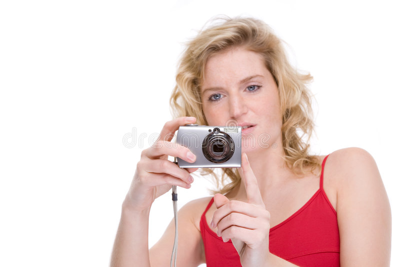 Donna con la macchina fotografica digitale fotografie stock libere da diritti