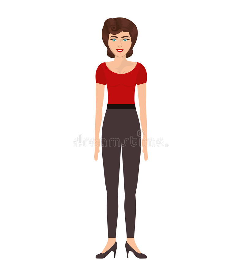 Donna con la maglietta ed i pantaloni rossi royalty illustrazione gratis