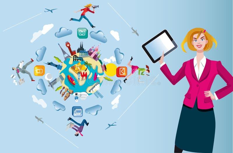 Donna con la mappa di mondo e della compressa royalty illustrazione gratis