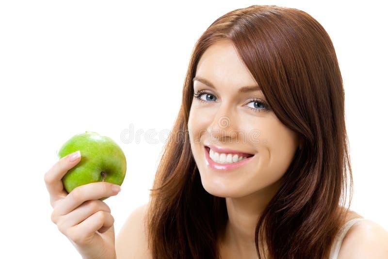 Donna con la mela fotografie stock libere da diritti