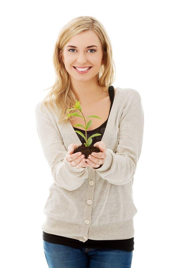 Donna con la pianta e la sporcizia a disposizione immagini stock