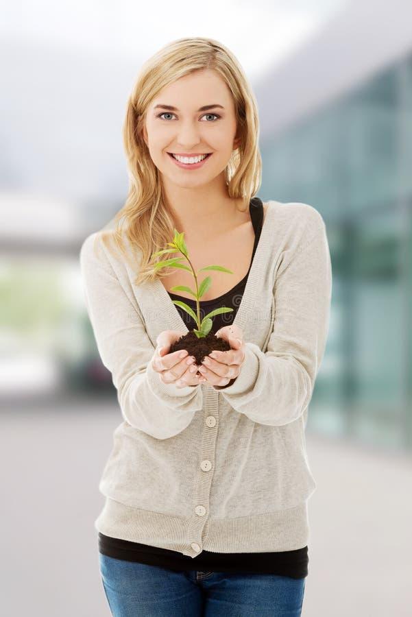 Donna con la pianta ed il suolo a disposizione immagini stock