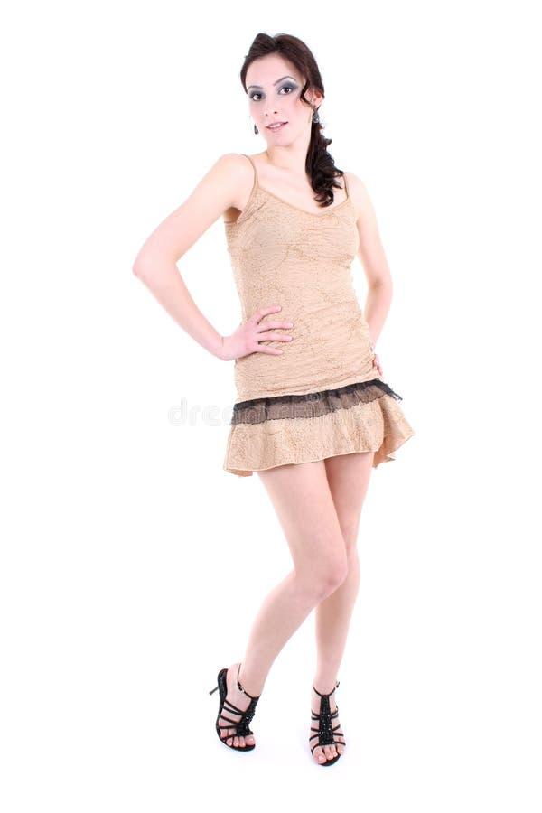 Donna con la posizione fumosa degli occhi immagini stock libere da diritti