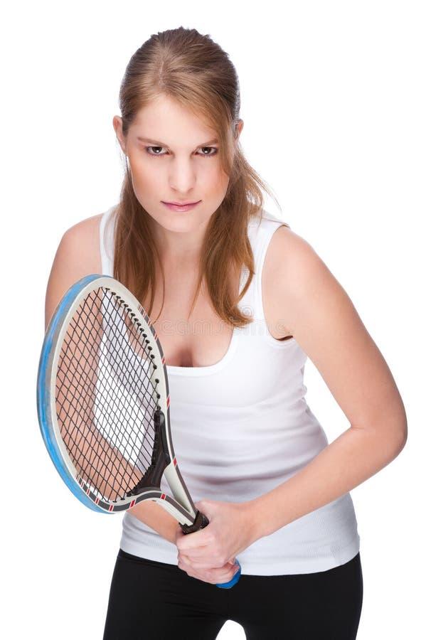 Donna con la racchetta di tennis immagini stock libere da diritti