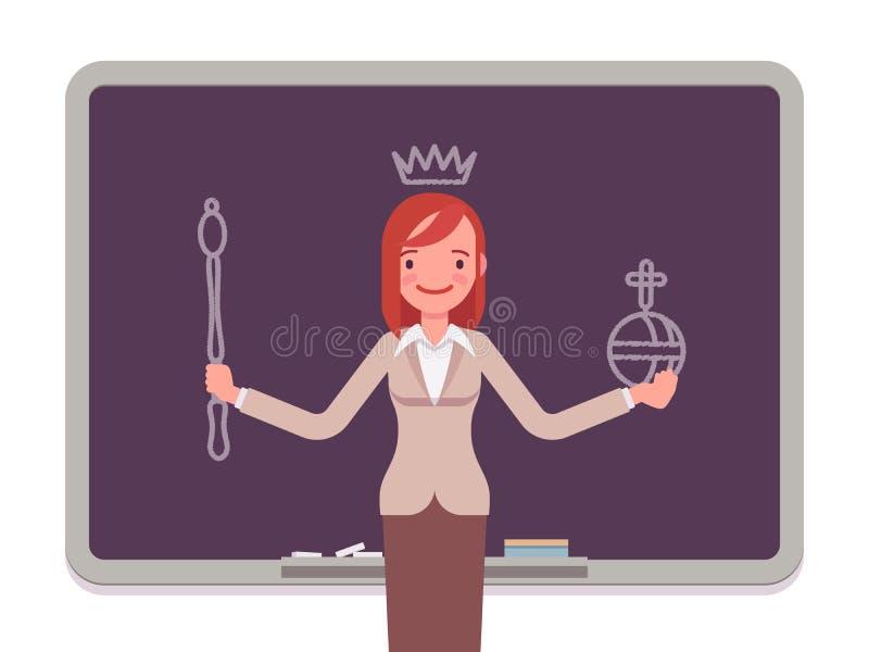 Donna con la regina tirata royalty illustrazione gratis