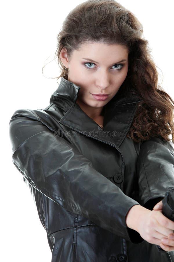 Donna con la rivoltella fotografia stock