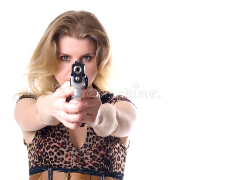 Donna con la rivoltella fotografie stock