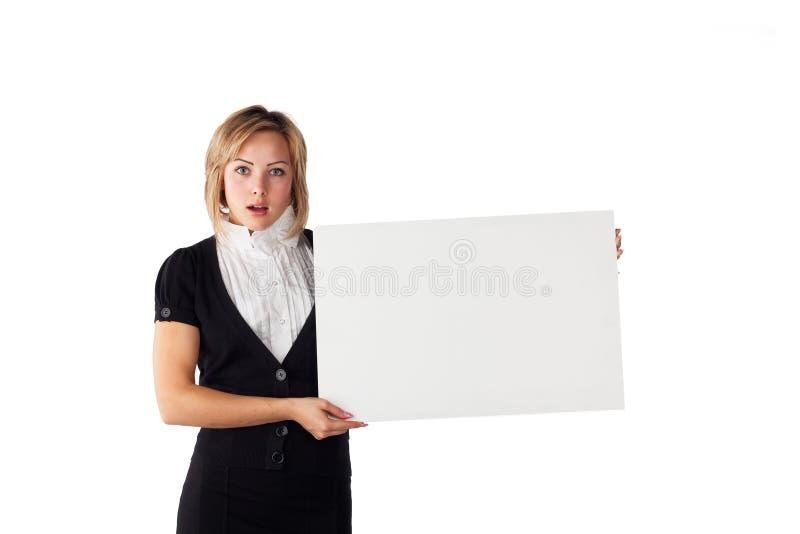 Donna con la scheda bianca fotografie stock