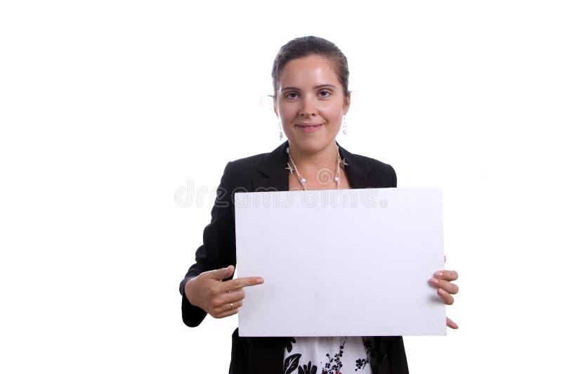 Donna con la scheda in bianco immagine stock