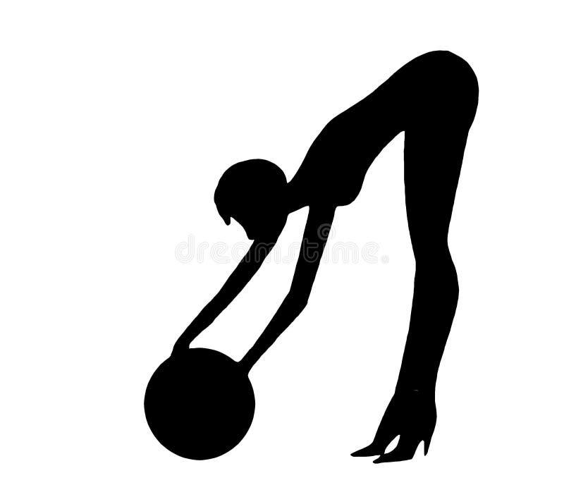 Donna con la sfera illustrazione vettoriale