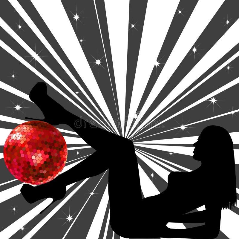 Donna con la sfera della discoteca royalty illustrazione gratis