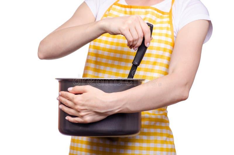 Donna con la siviera e la casseruola della cucina del grembiule a disposizione fotografia stock