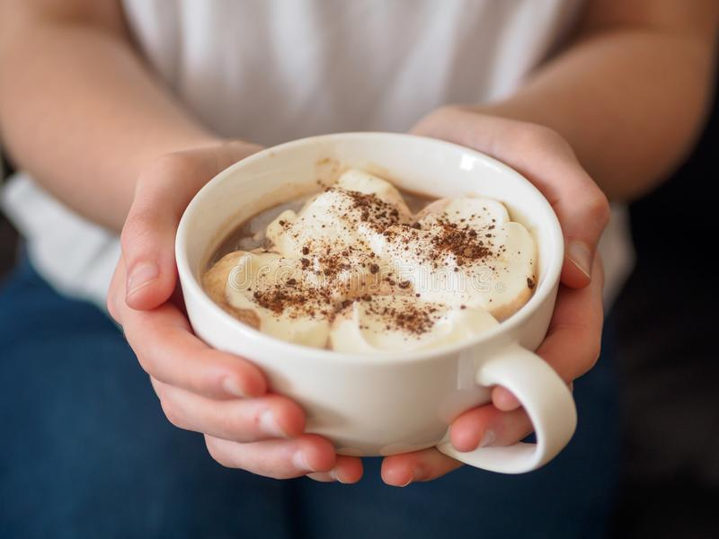 Donna con la tazza del cappuccino in sue mani immagine stock libera da diritti