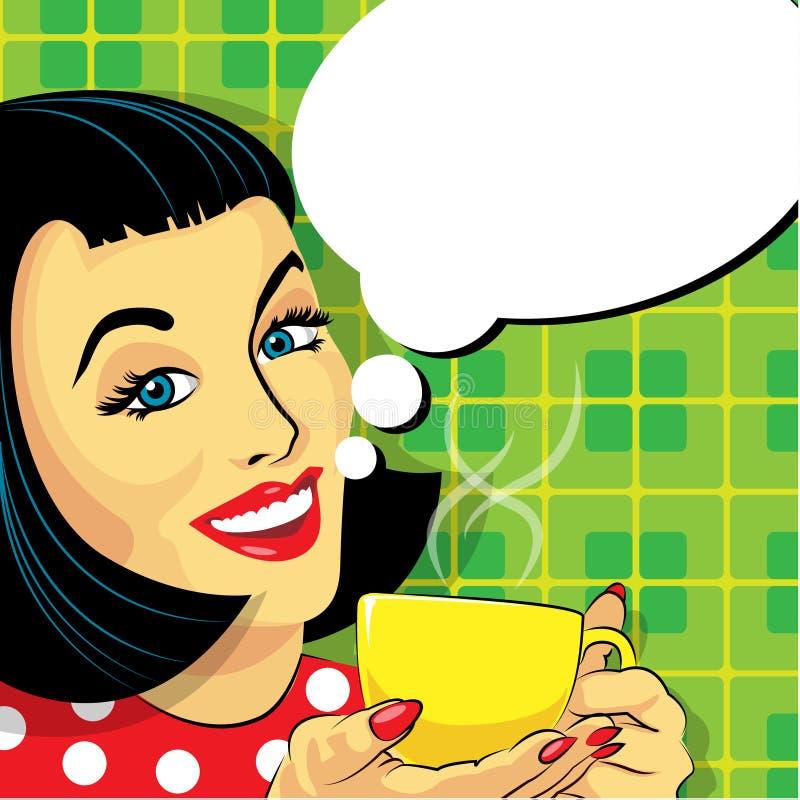 Donna con la tazza di caffè ed il fumetto fotografie stock libere da diritti