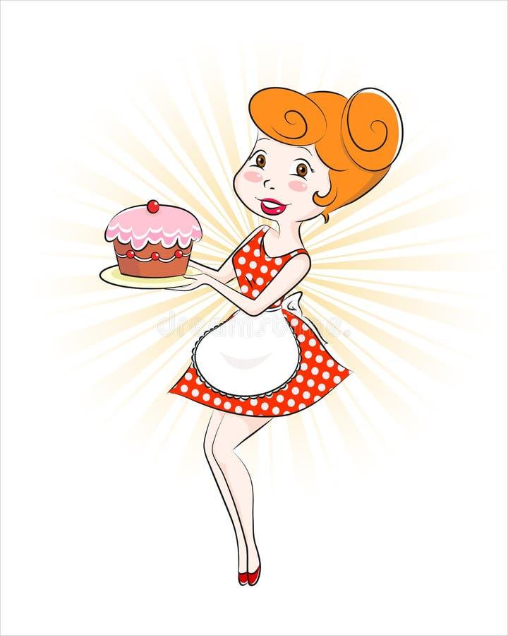 Donna con la torta illustrazione vettoriale
