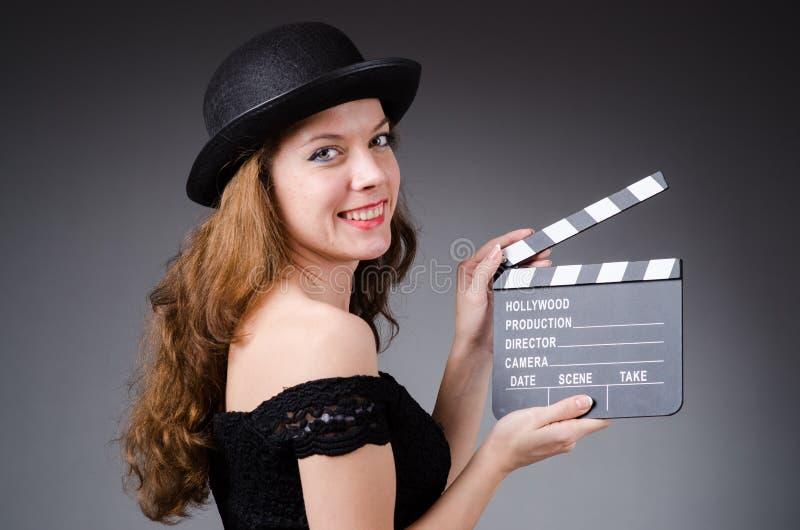 Donna Con La Valvola Di Film Fotografia Stock Libera da Diritti