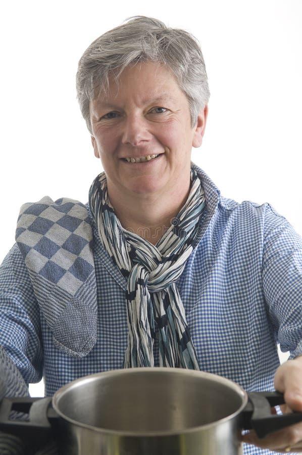 Donna con la vaschetta fotografia stock