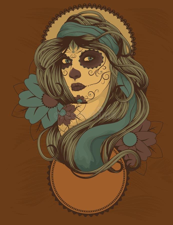 Donna con la vernice del fronte del cranio dello zucchero illustrazione di stock