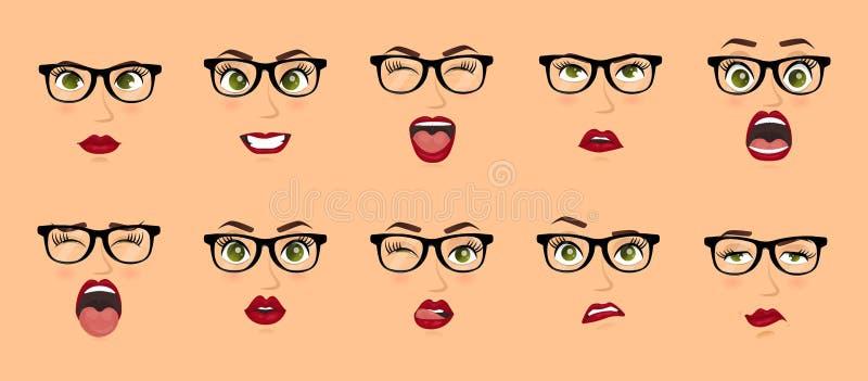 Donna con le espressioni facciali di vetro, gesti, timore di delusione di entusiasmo di tristezza di repulsione di sorpresa di fe illustrazione vettoriale