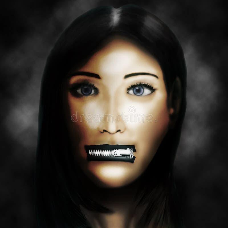 Donna con le labbra zippate immagine stock