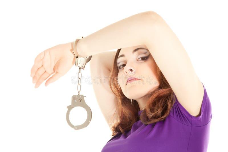 Donna con le manette immagini stock libere da diritti