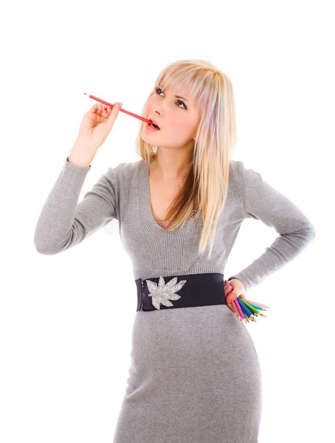 Donna con le matite colourful immagini stock libere da diritti