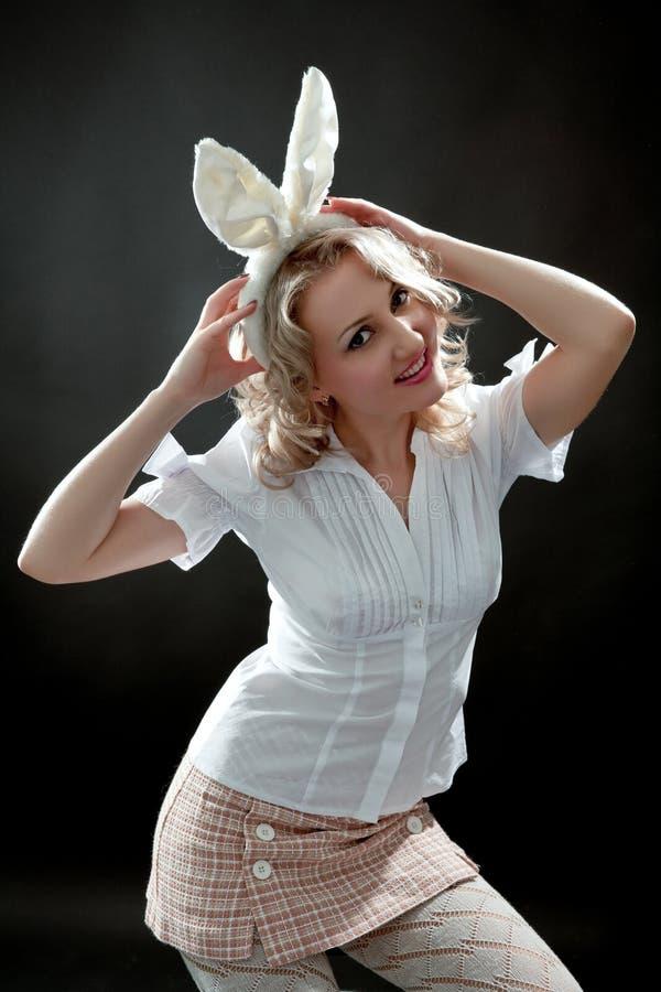 Donna con le orecchie fotografie stock libere da diritti
