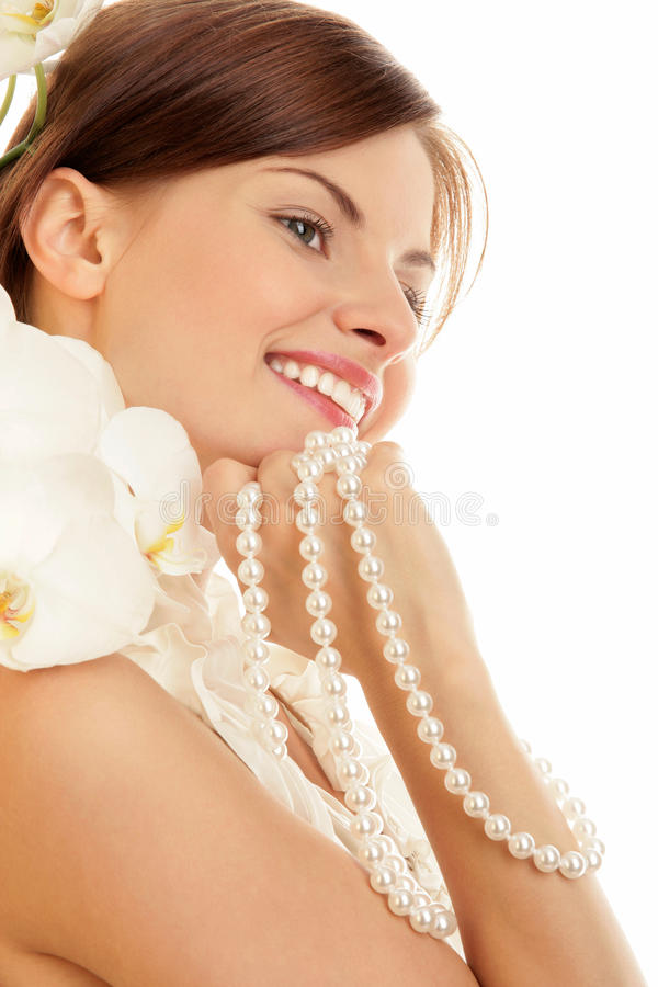 Donna con le perle fotografie stock libere da diritti