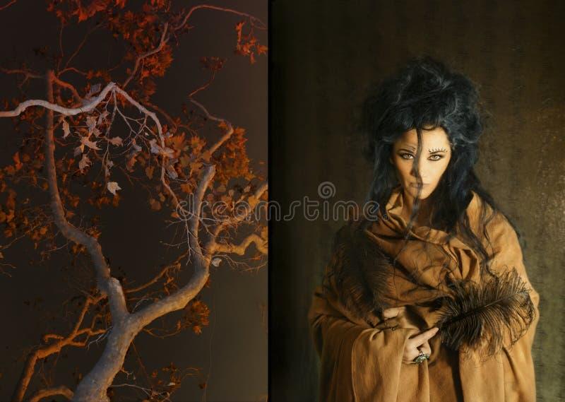 Donna con le piume marroni della holding dell'abito immagine stock libera da diritti