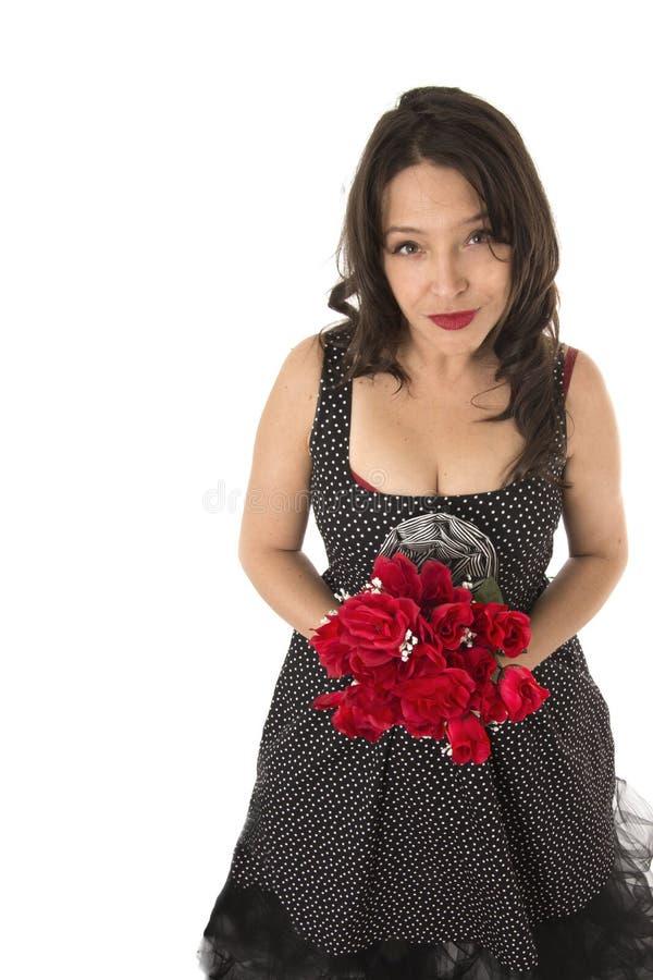 Donna con le rose rosse fotografie stock libere da diritti