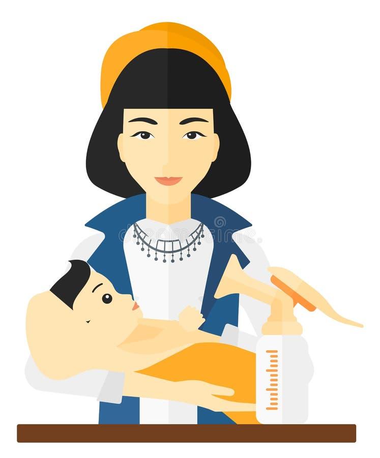 Donna con le tiralatte illustrazione vettoriale