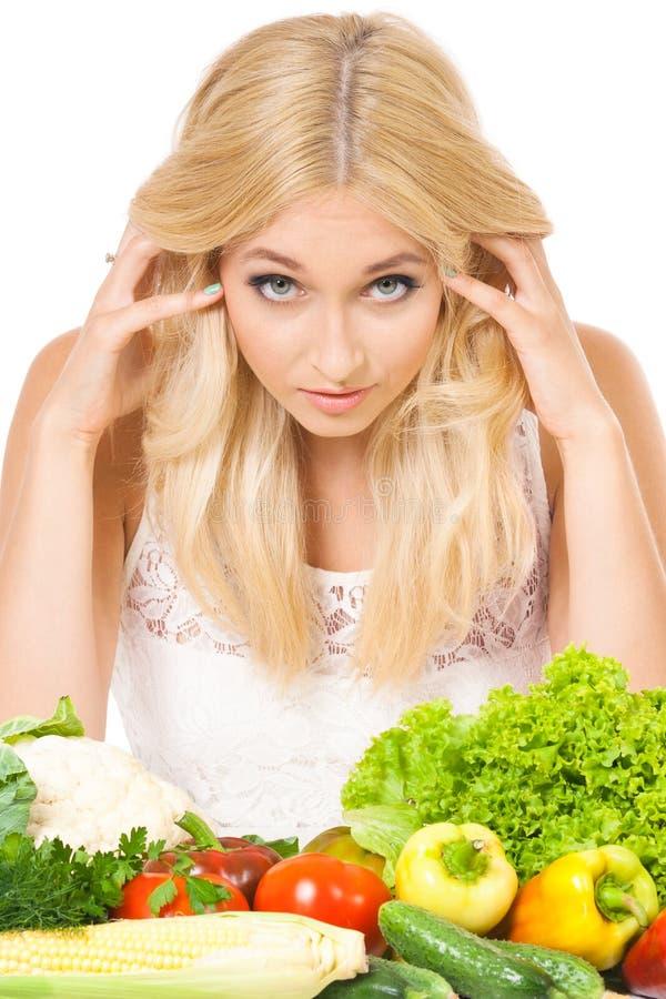 Donna con le verdure fotografia stock