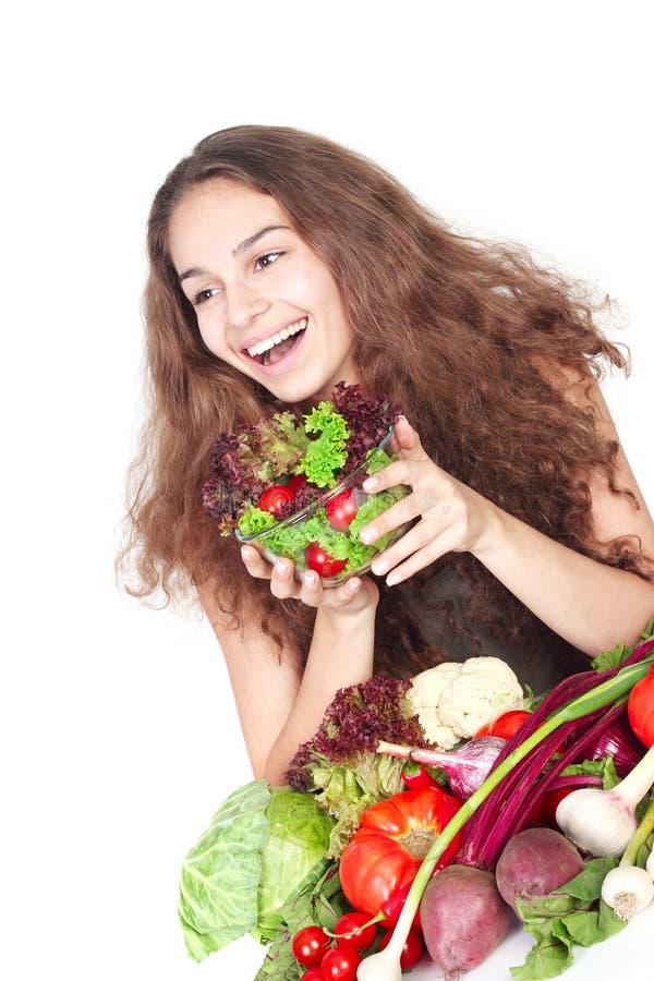 Donna con le verdure fotografia stock libera da diritti
