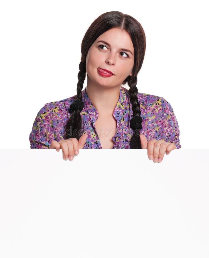 Donna con lo spazio in bianco fotografia stock