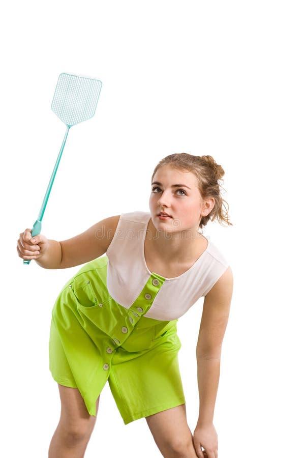 Donna con lo swatter di mosca immagini stock libere da diritti