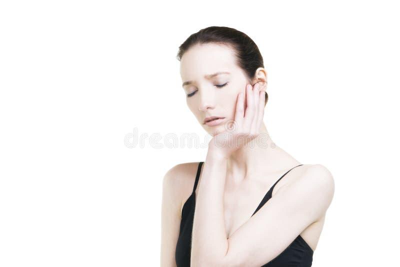 Donna con mal di denti Dolore nel corpo umano immagine stock